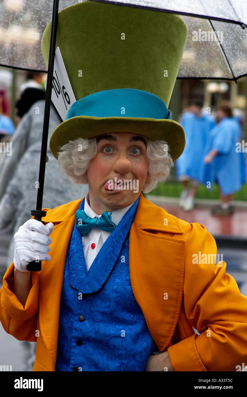 Mad hatter pulling face during parade at magic kingdom orlando florida usa - Stock Image