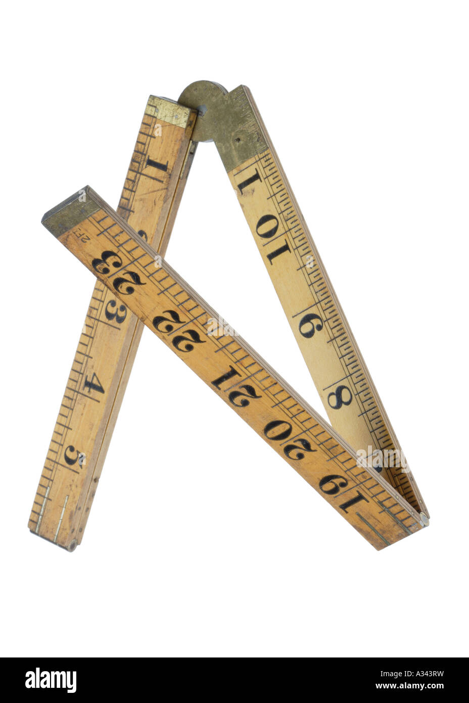 A Folding wooden measuring ruler Brass hinges Letter A - Stock Image