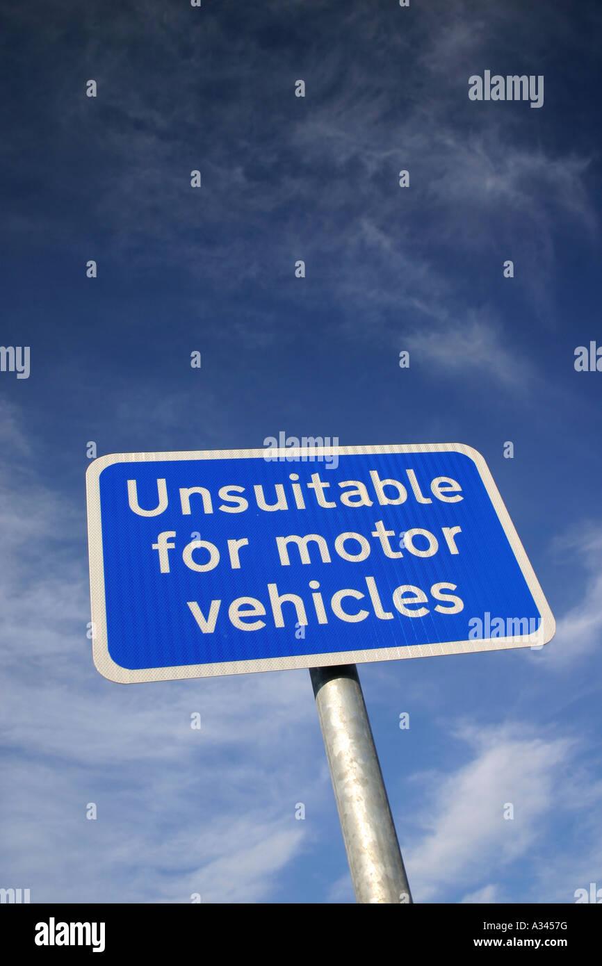 Unsuitable for Motor Vehicles warning sign Alnwick Northumberland United Kingdom - Stock Image