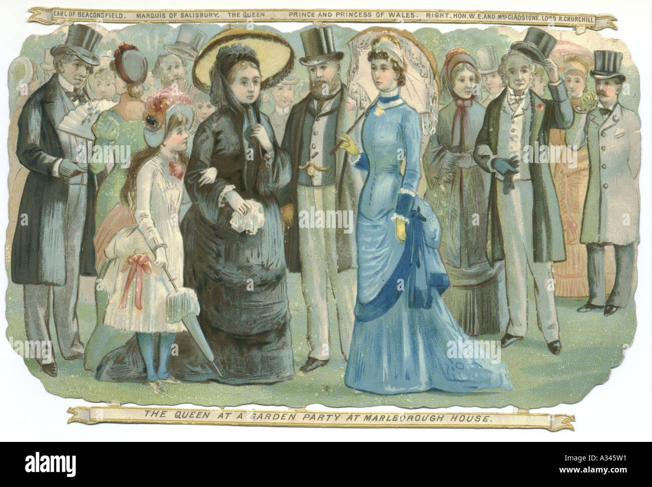 Queen Victoria at a Garden Party, Marlborough House, circa 1880 - Stock Image