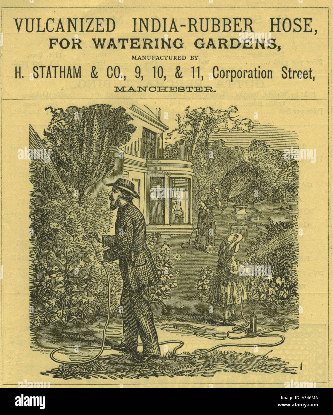India-Rubber Garden Hose advertisement circa 1860 Stock Photo