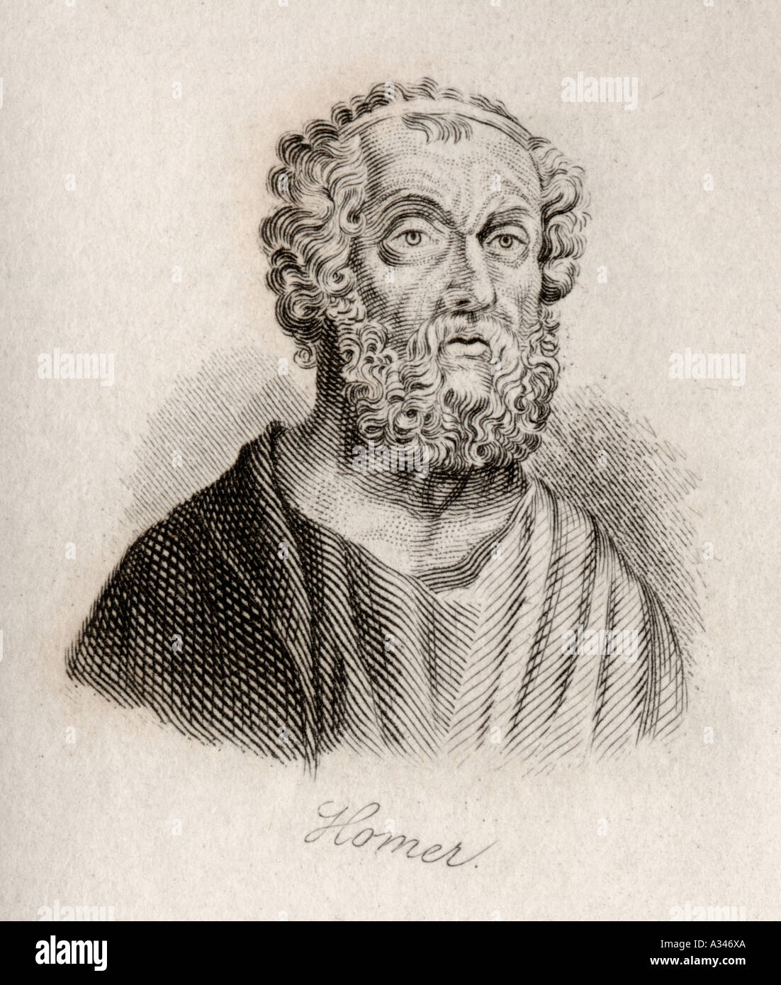 Homer c 900 BC c 850 BC Ancient Greek poet Engraved by J W Cook - Stock Image