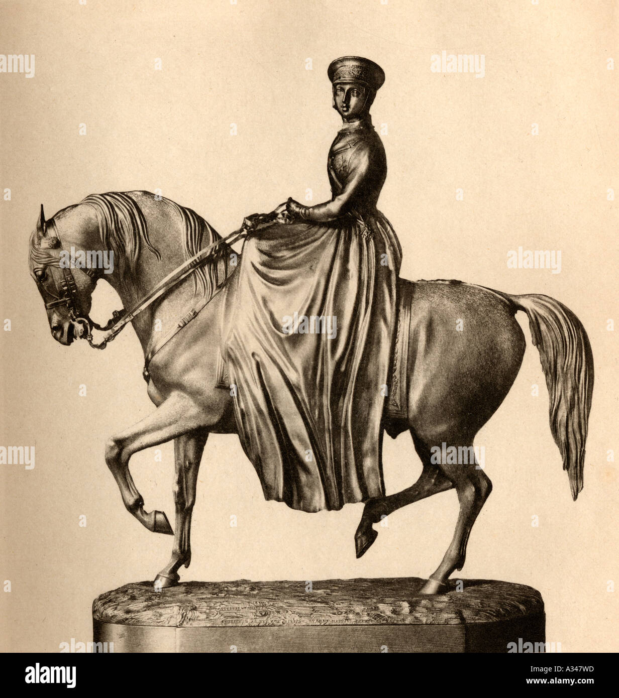Silver statuette of Queen Victoria 1819 1901 Engraved by Emery Walker - Stock Image