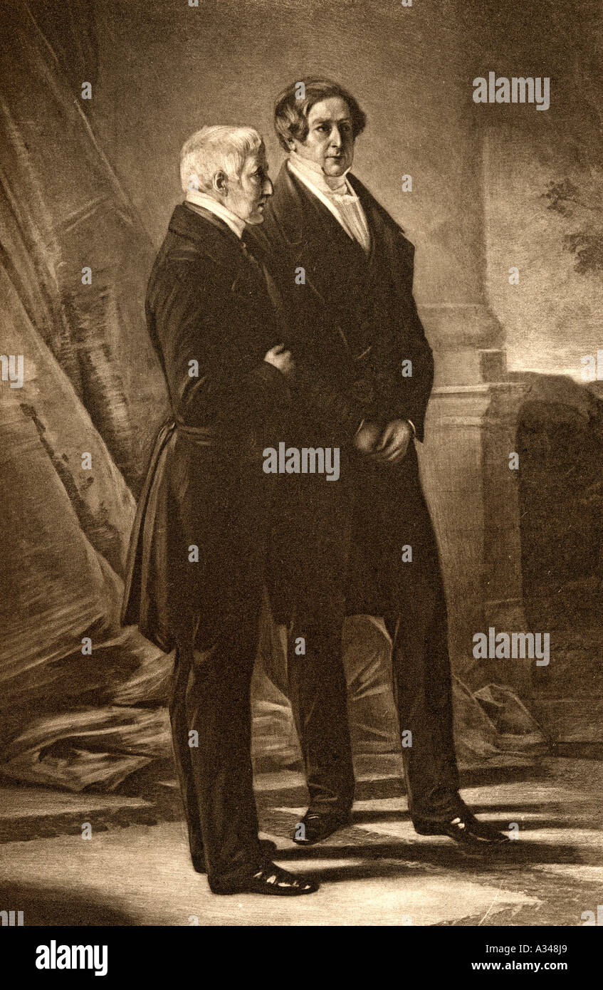 Duke of Wellington left and Sir Robert Peel right - Stock Image