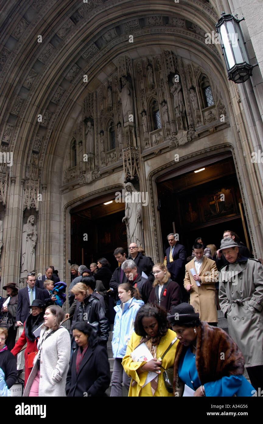 Parishioners leave services at St Thomas Episcopal Church