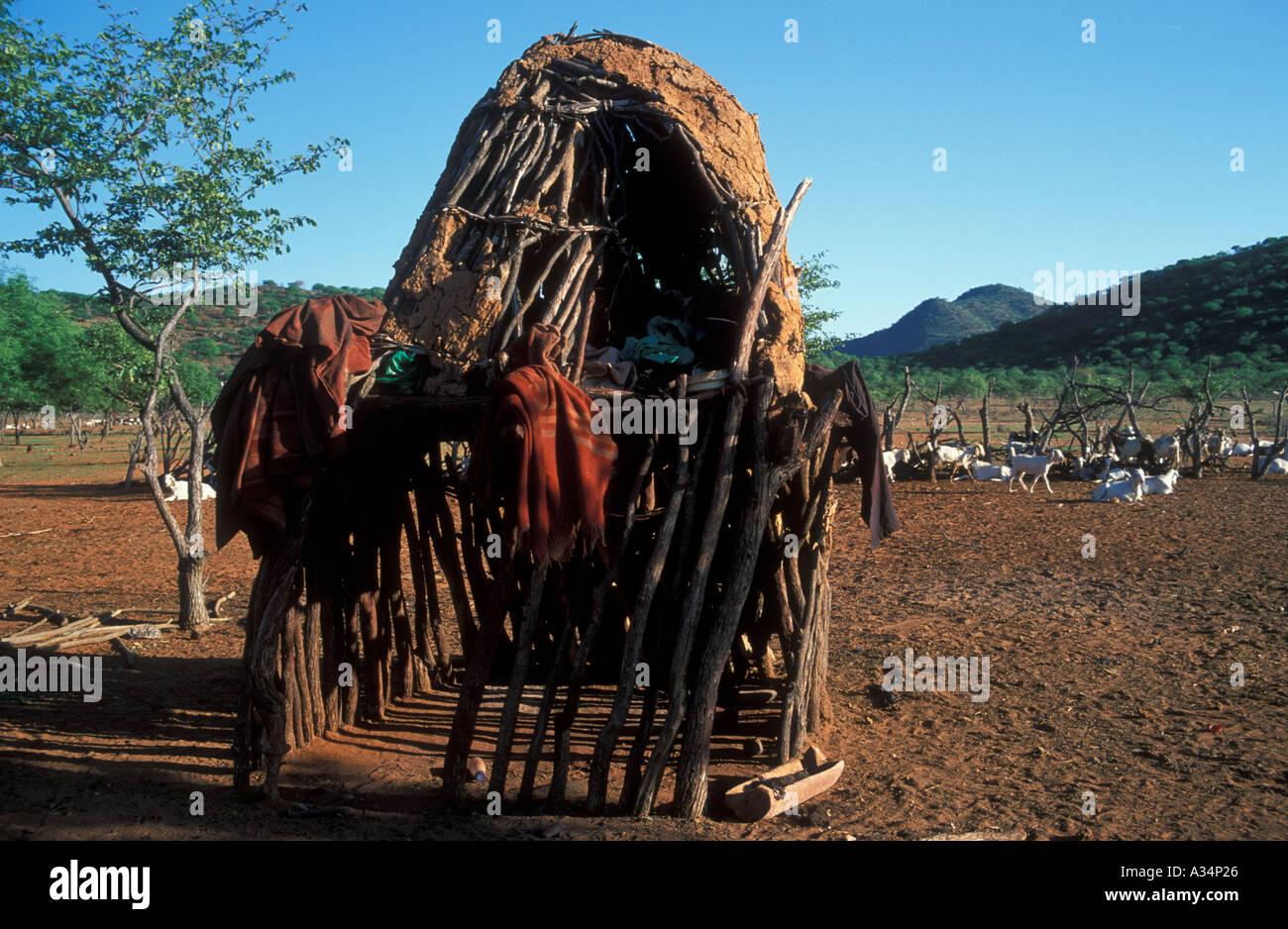 Storage shed inside Kraal Himba Ovahimba tribe nomadic Kaokoveld Namibia Africa - Stock Image