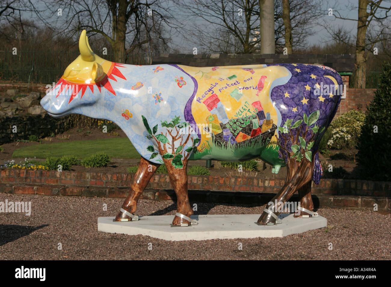 Cow Heaton Park part of Cow Parade Manchester 2004 public art exhibition UK - Stock Image