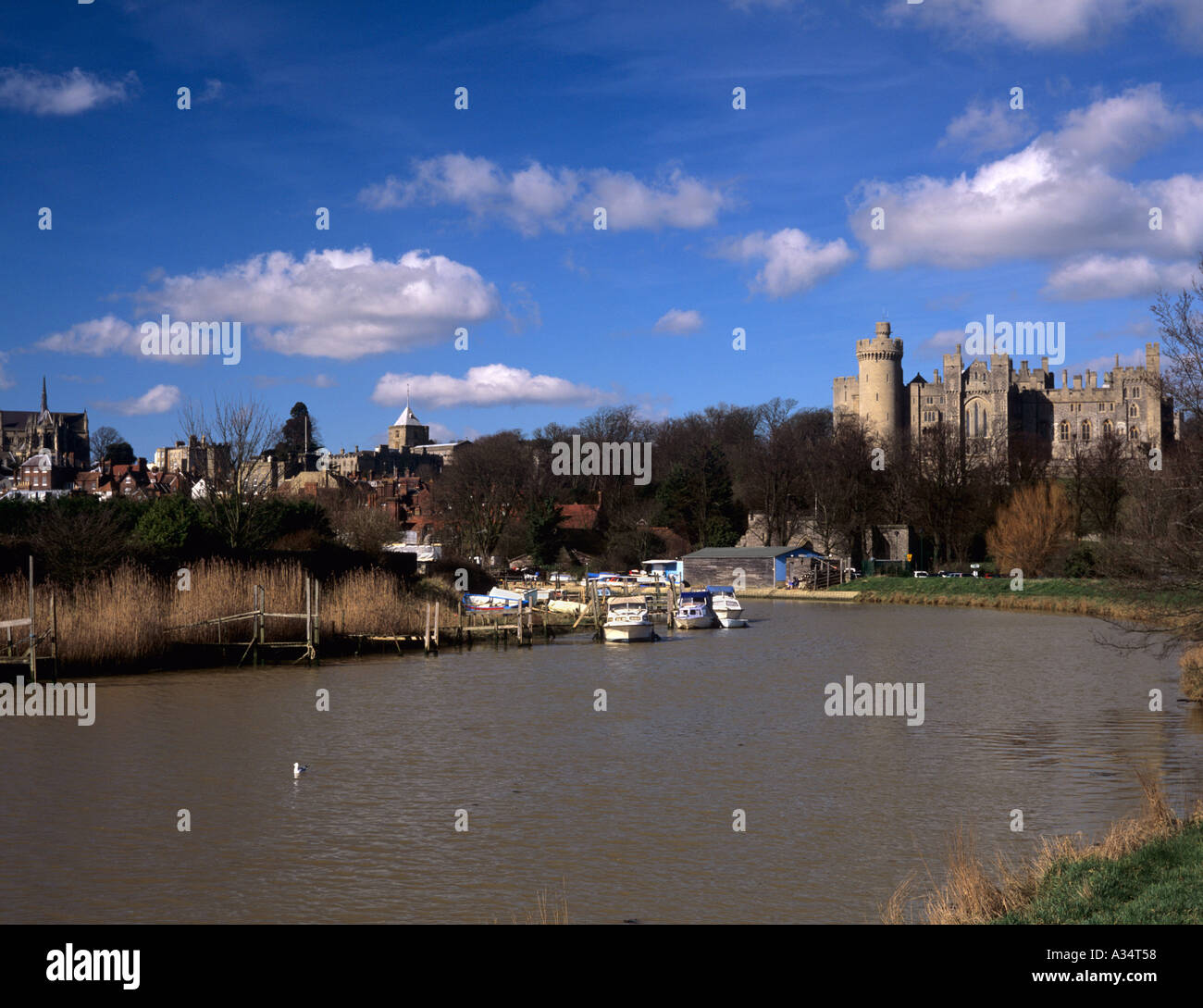 ARUNDEL TOWN and CASTLE from along the River Arun with the cathedral in view Arundel West Sussex England UK Stock Photo