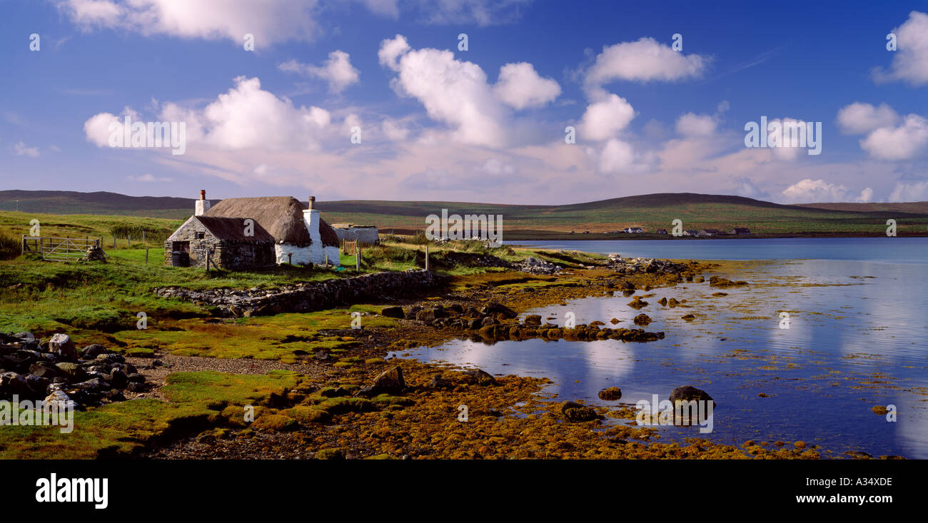 Croft House at Malacleit, North Uist, Western Isles, Scotland, UK - Stock Image