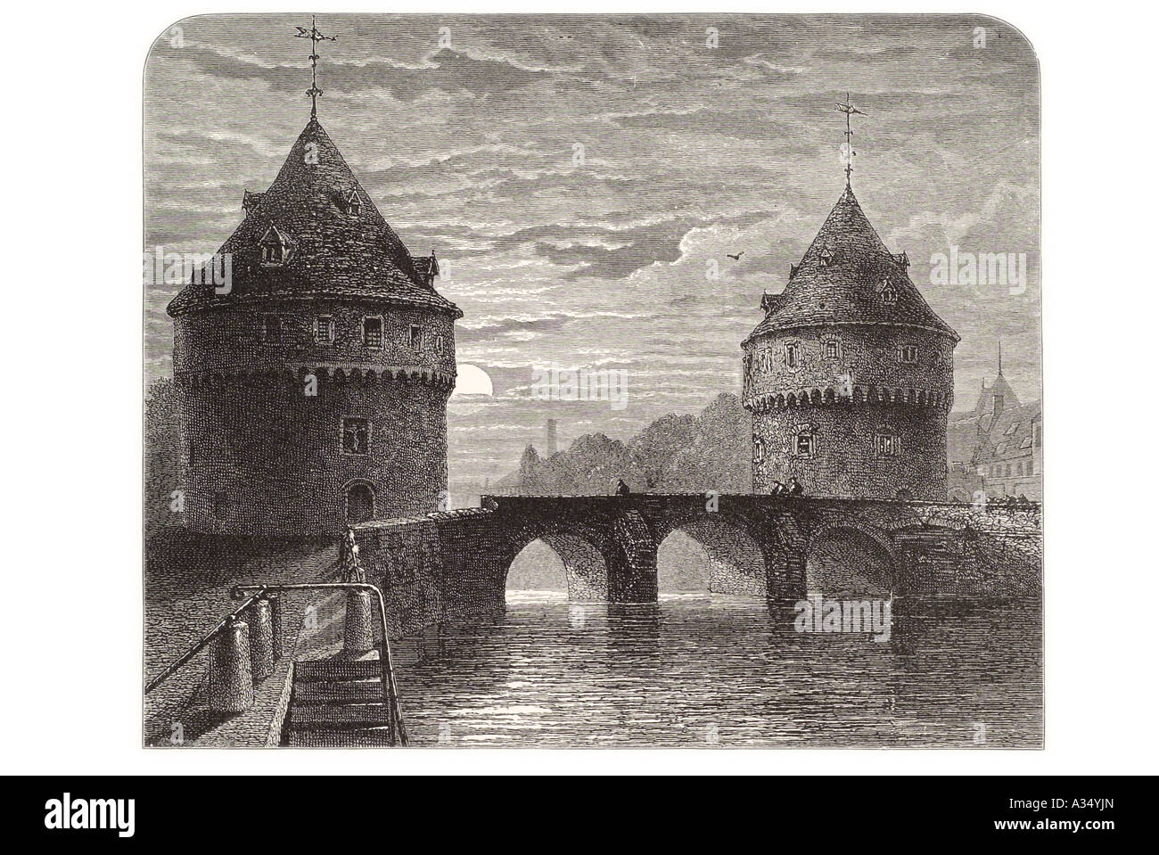 Broel round tower arch bridge river lys Belgique Flanders Benelux night moon stone transport navigable waterway - Stock Image