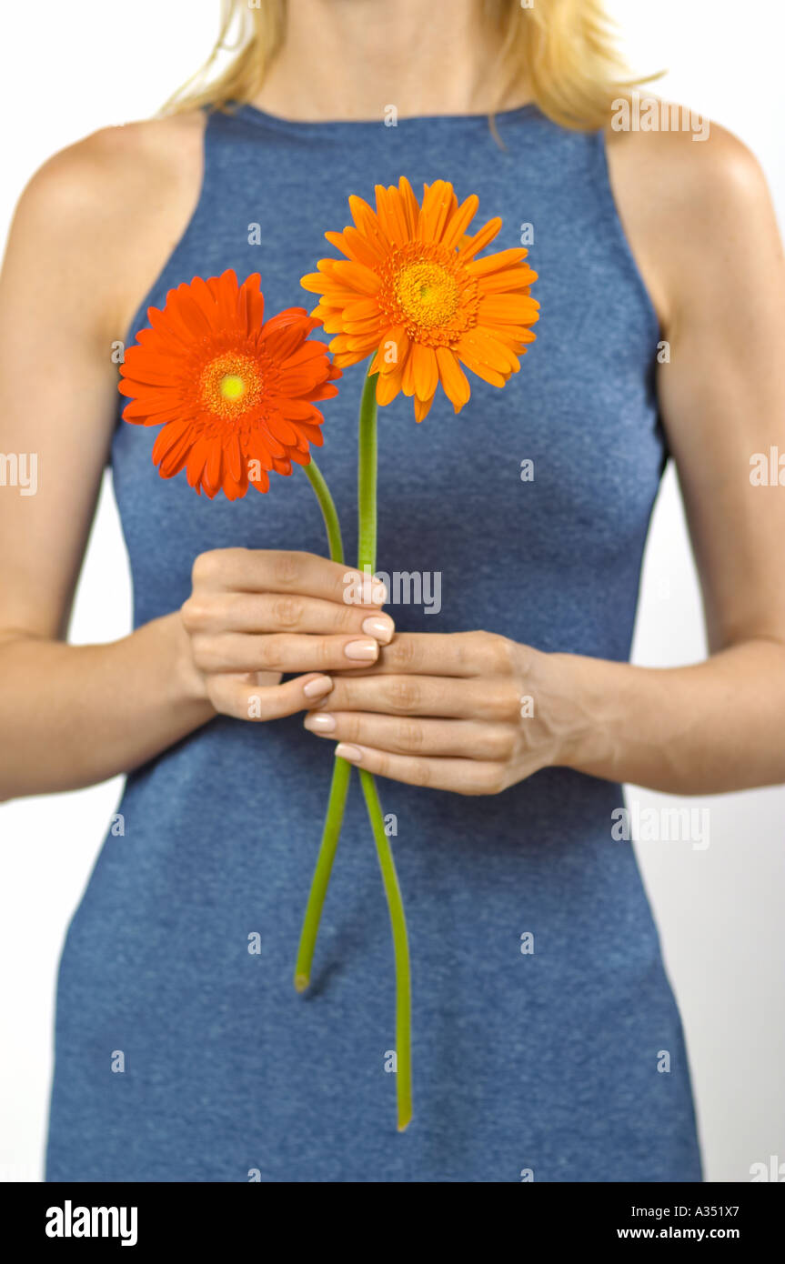 Woman holding 2 Gerbera daisies; concept 2 choices - Stock Image