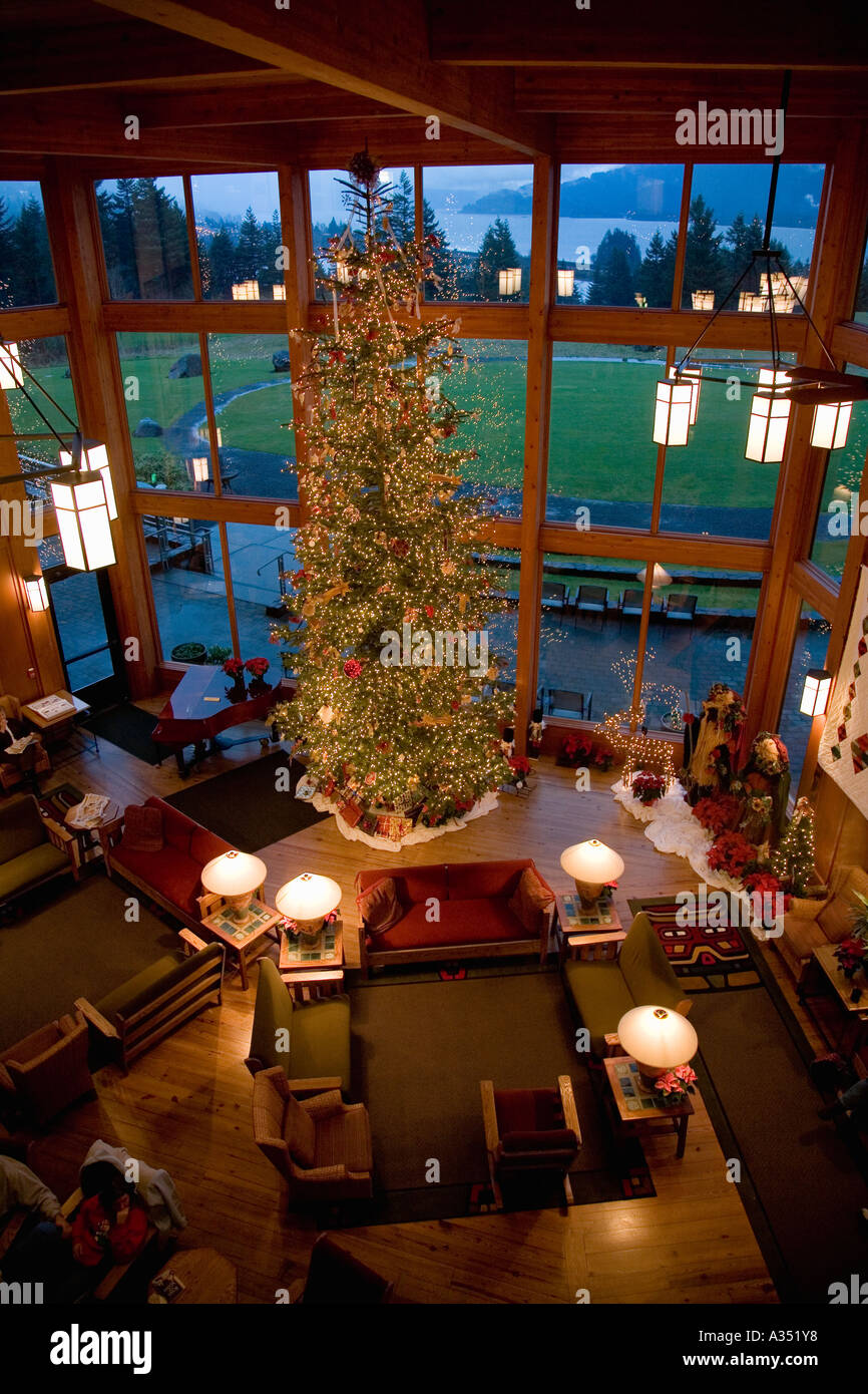 Skamania Lodge Christmas Events 2020 30 foot tall Christmas tree stands in lobby of Skamania Lodge