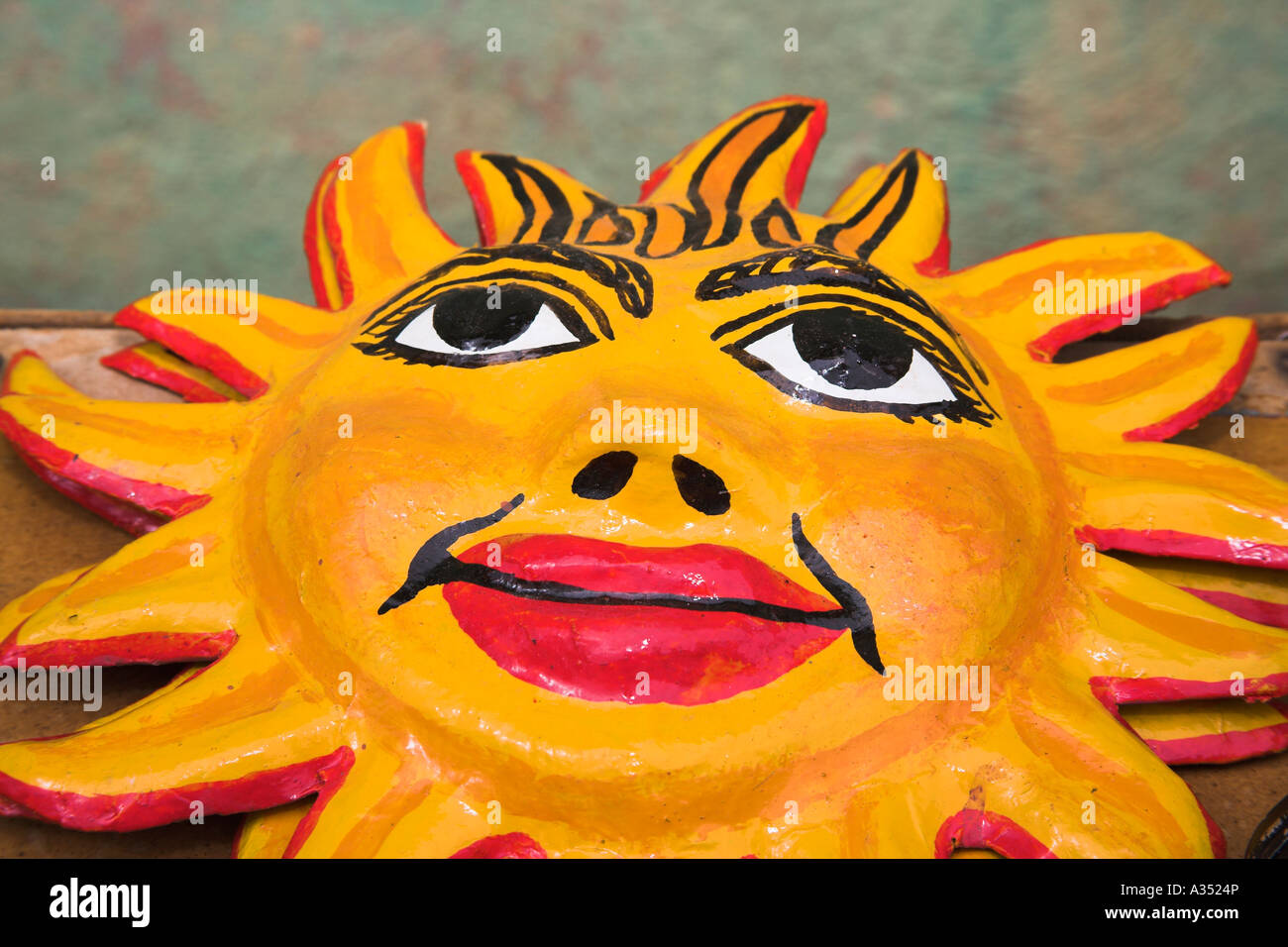 Colourful ceramic pottery sun wall plaque for sale in craft market ...