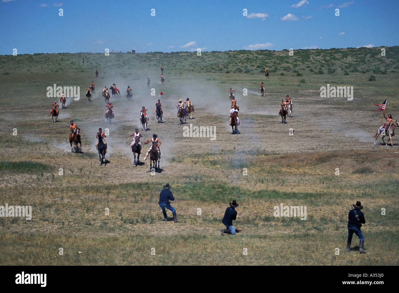 Little Bighorn Custer battle re enactment Crow Agency lands near Hardin Montana USA Stock Photo