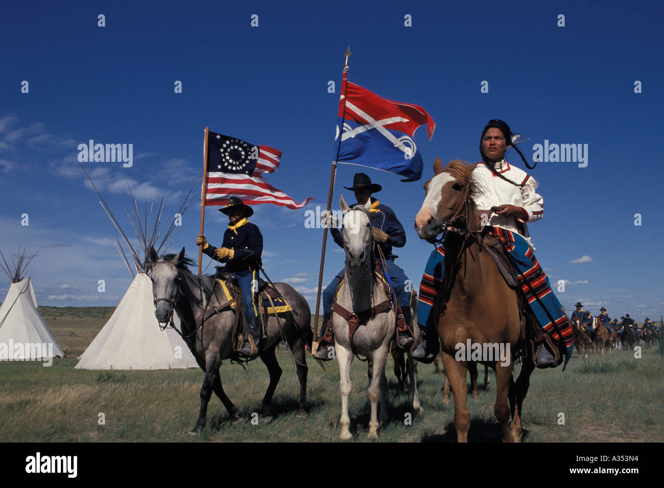 United States Cavalry horse patrol Little Bighorn battle reenactment Montana USA - Stock Image