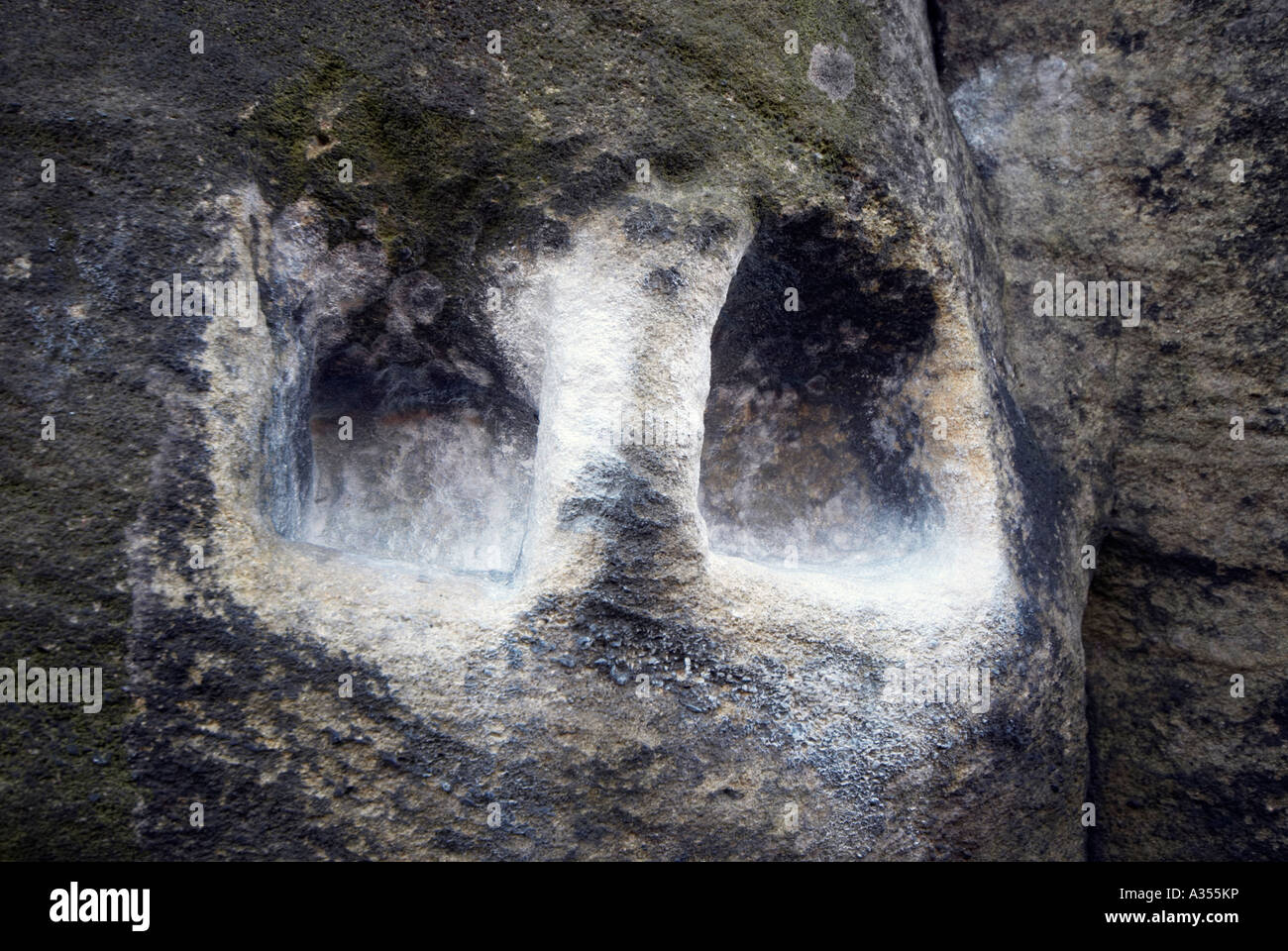 Two 'Hand grips' chalked on Buckstone under in Derbyshire 'Great Britain' - Stock Image