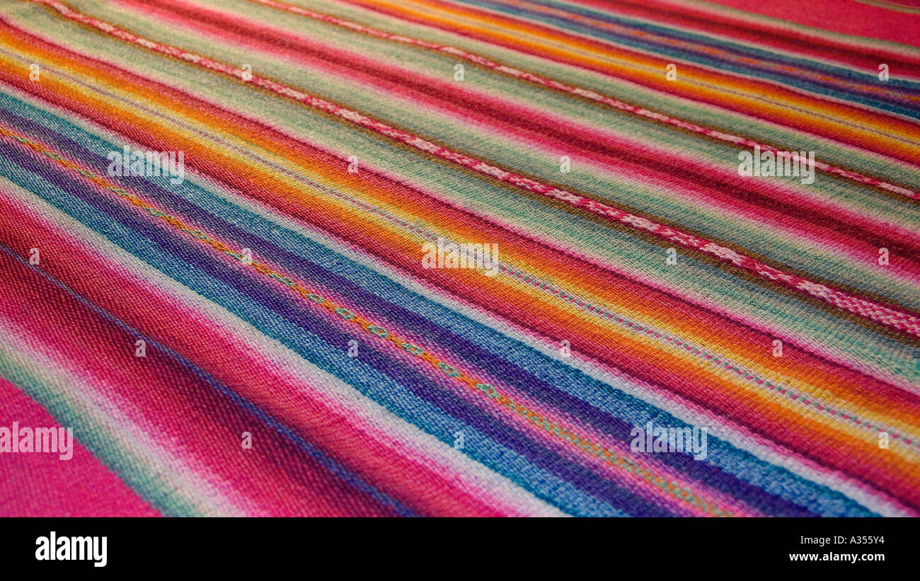 Andean fabric from Peru as sold in the markets of La Paz Bolivia and Cuzco Pisac Peru Stock Photo