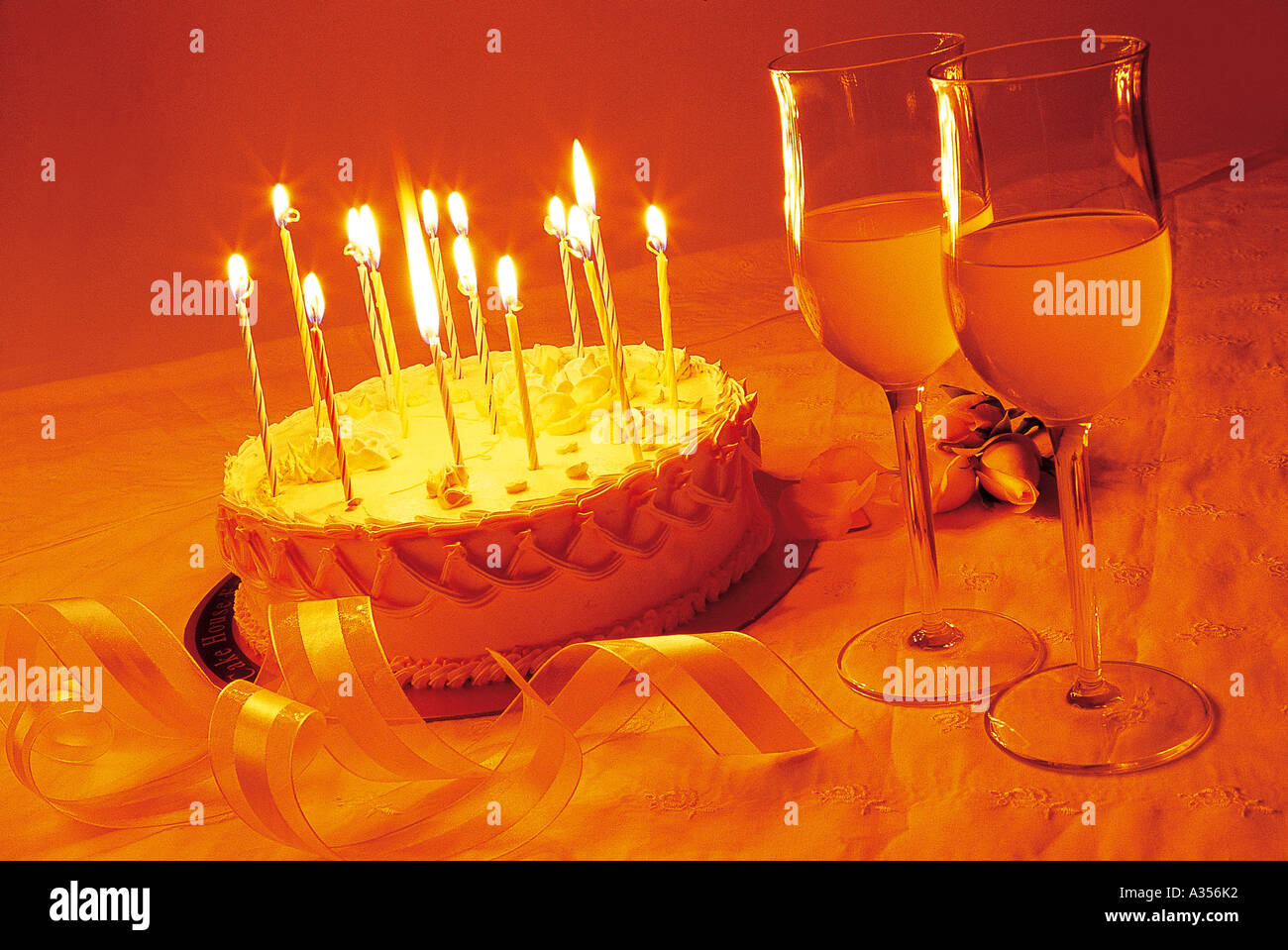 Birthday Cake And Wine Glasses On The Table Stock Photo 6099377 Alamy
