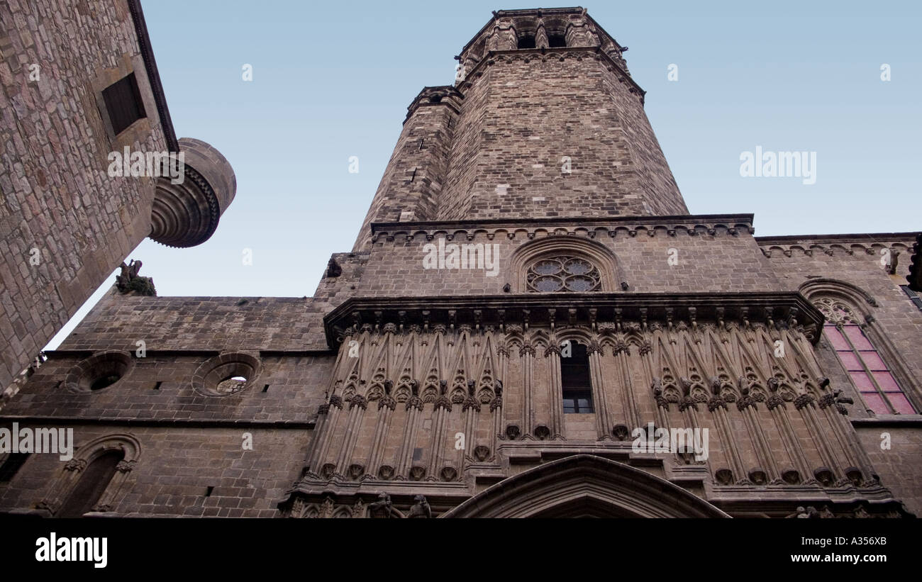 Barri Gotic Architectural detail of the Capella de Santa Agata at the Palacio Real Mayor in the Placa del Rei Barcelona SPAIN - Stock Image