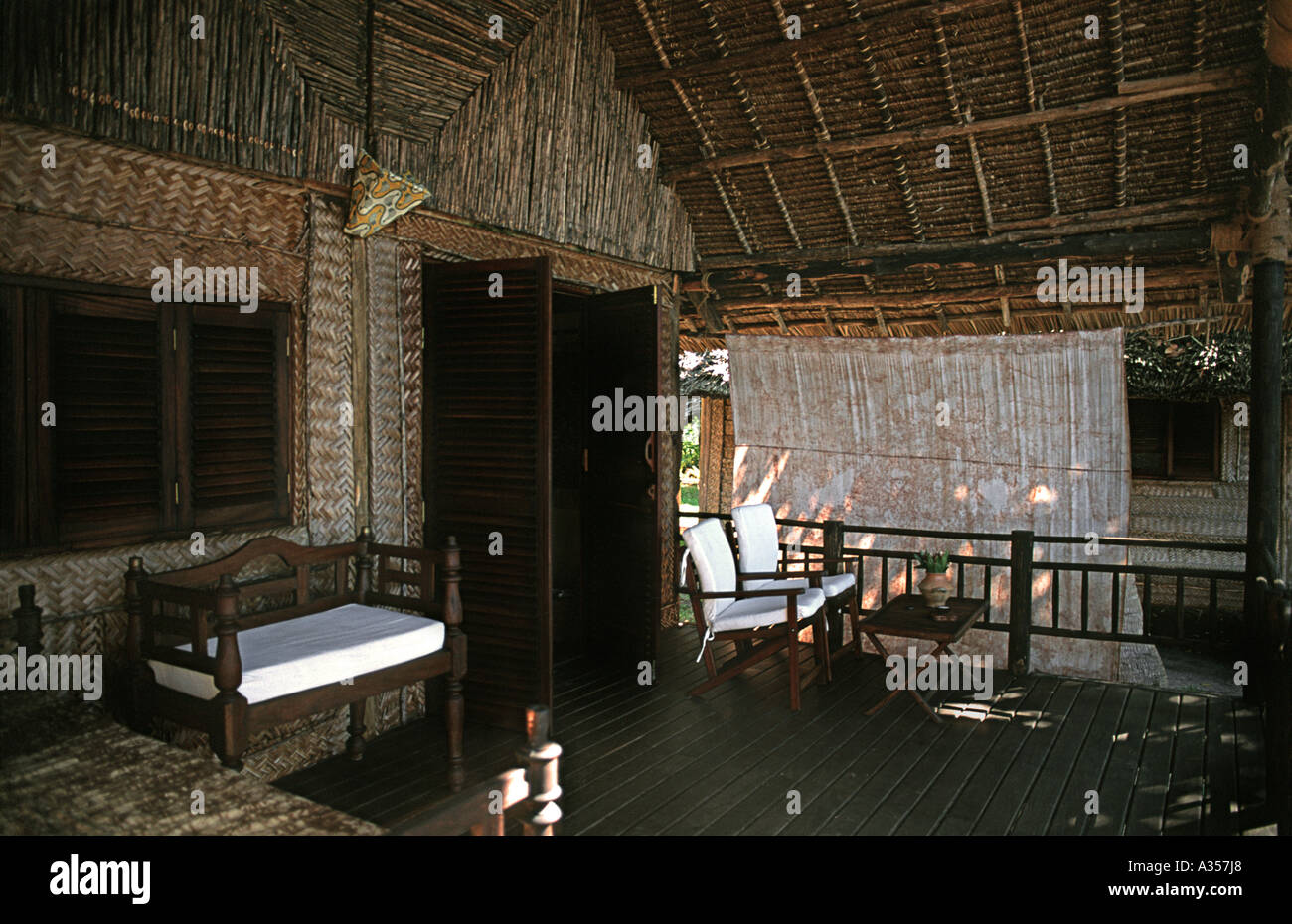 Furnished terrace of a bunglaow at the Pole Pole Lodge An eco resort at Utende on the Tanzanian island of Mafia TANZANIA - Stock Image
