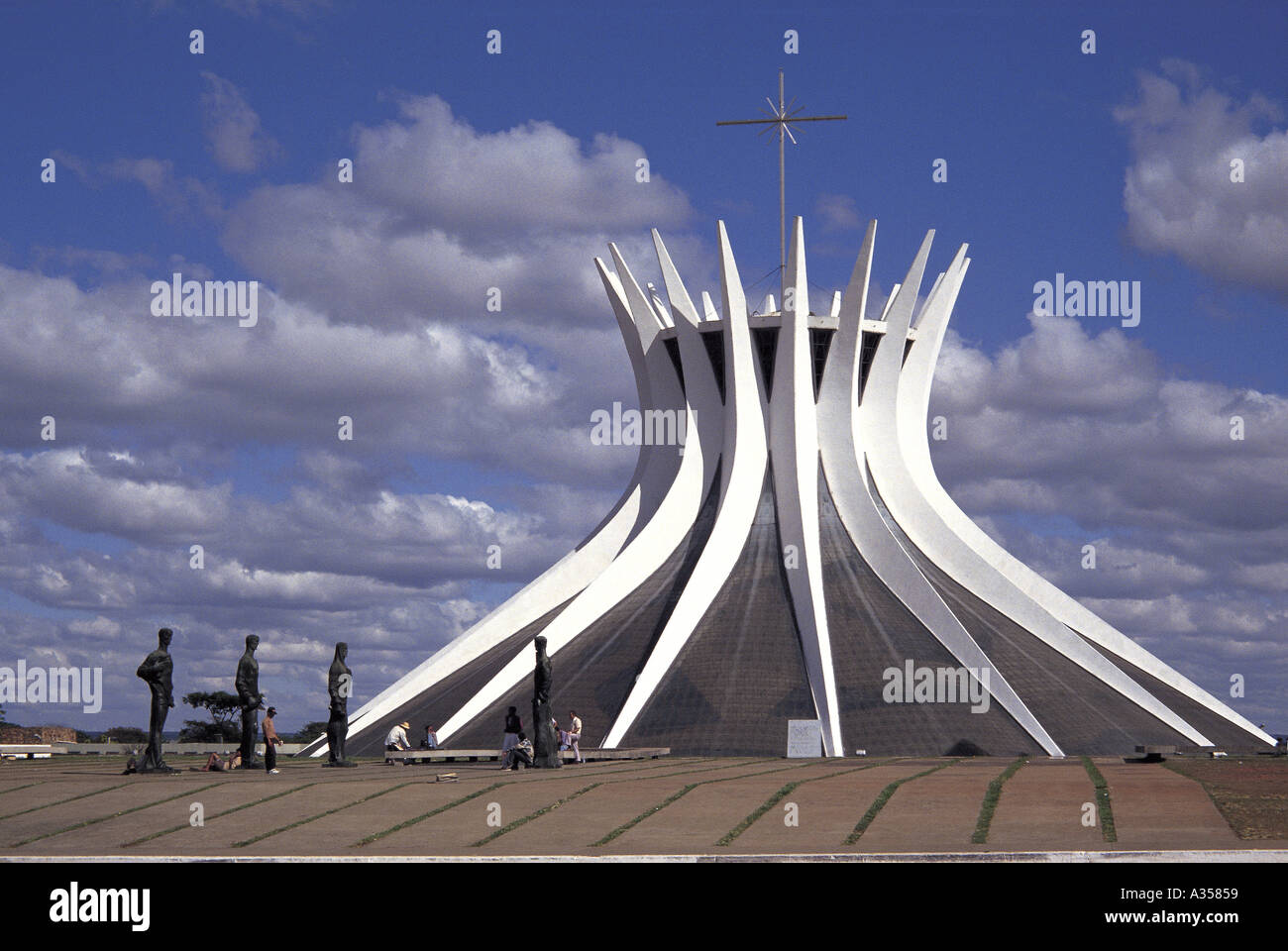 2f438270993f3b Brasilia Brazil Modern cathedral by Oscar Niemeyer architect with statues  of saints in front