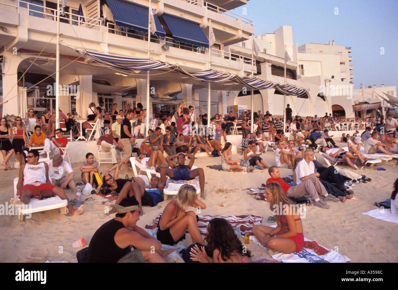 Beach in front of the Cafe del Mar in San Antonio Ibiza Spain - Stock Image
