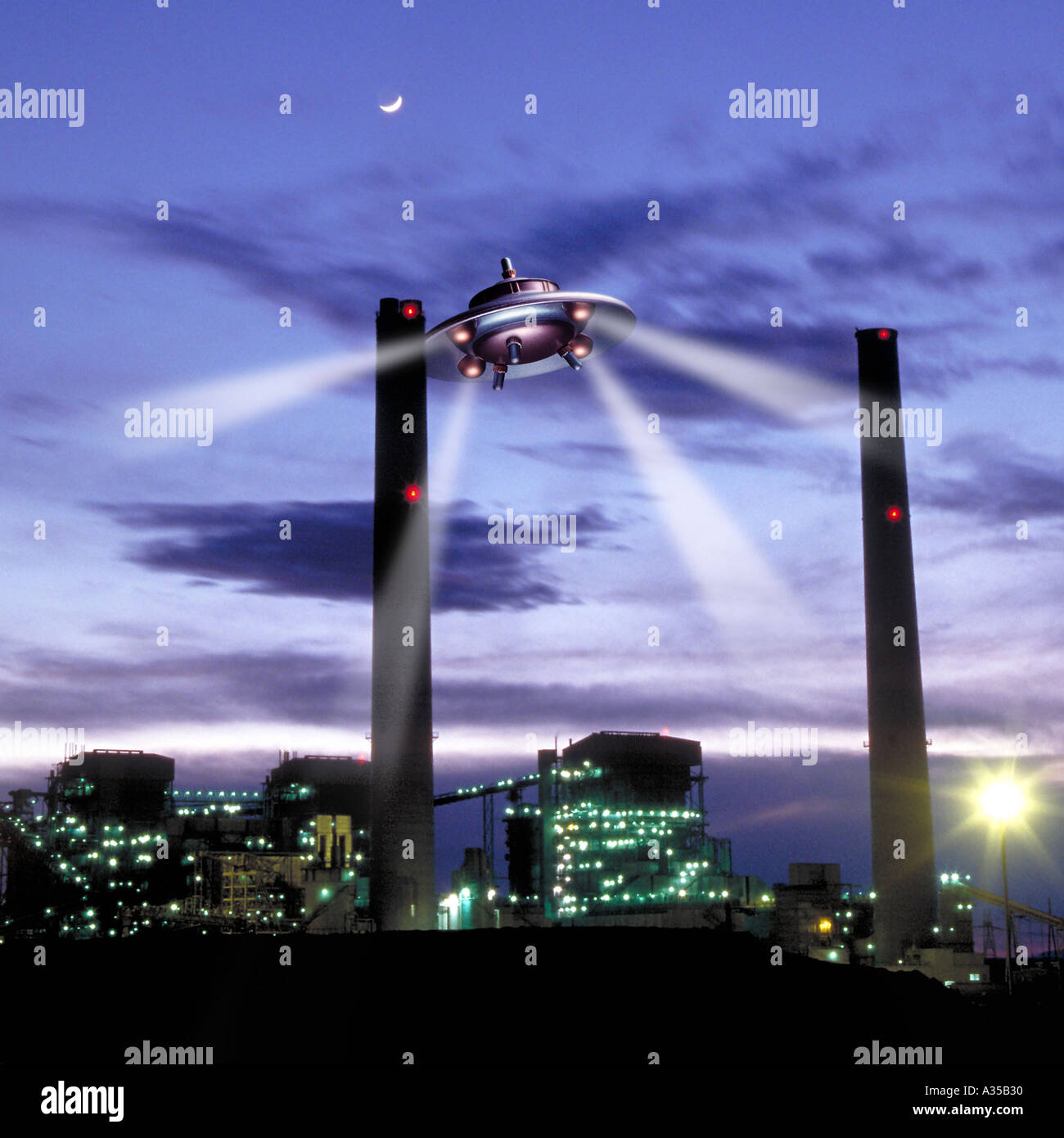 UFO over Power Plant - Stock Image