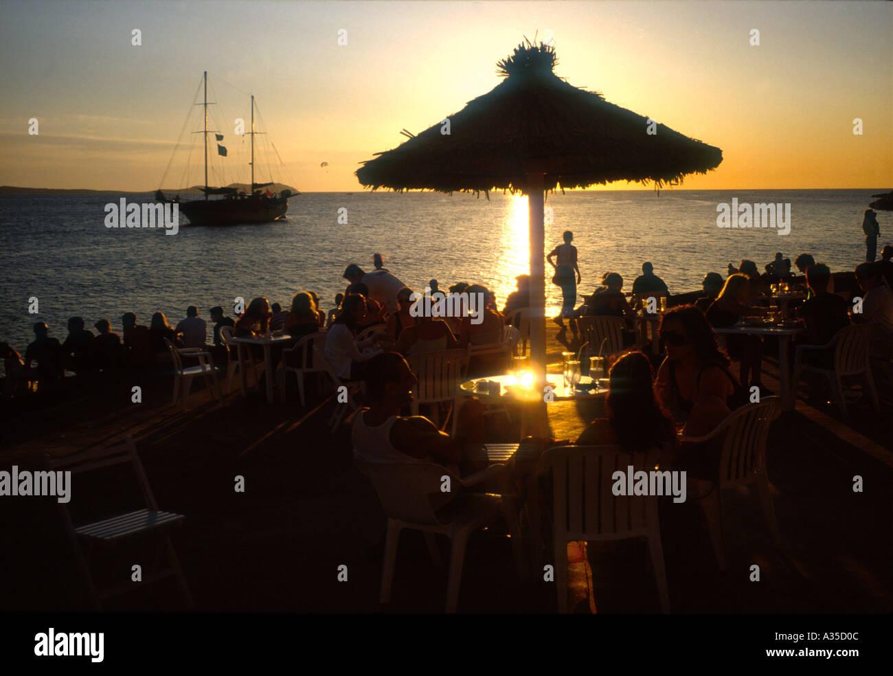 Sunset from Cafe del Mar Sant Antoni del Portmany Ibiza Balearic islands Spain - Stock Image