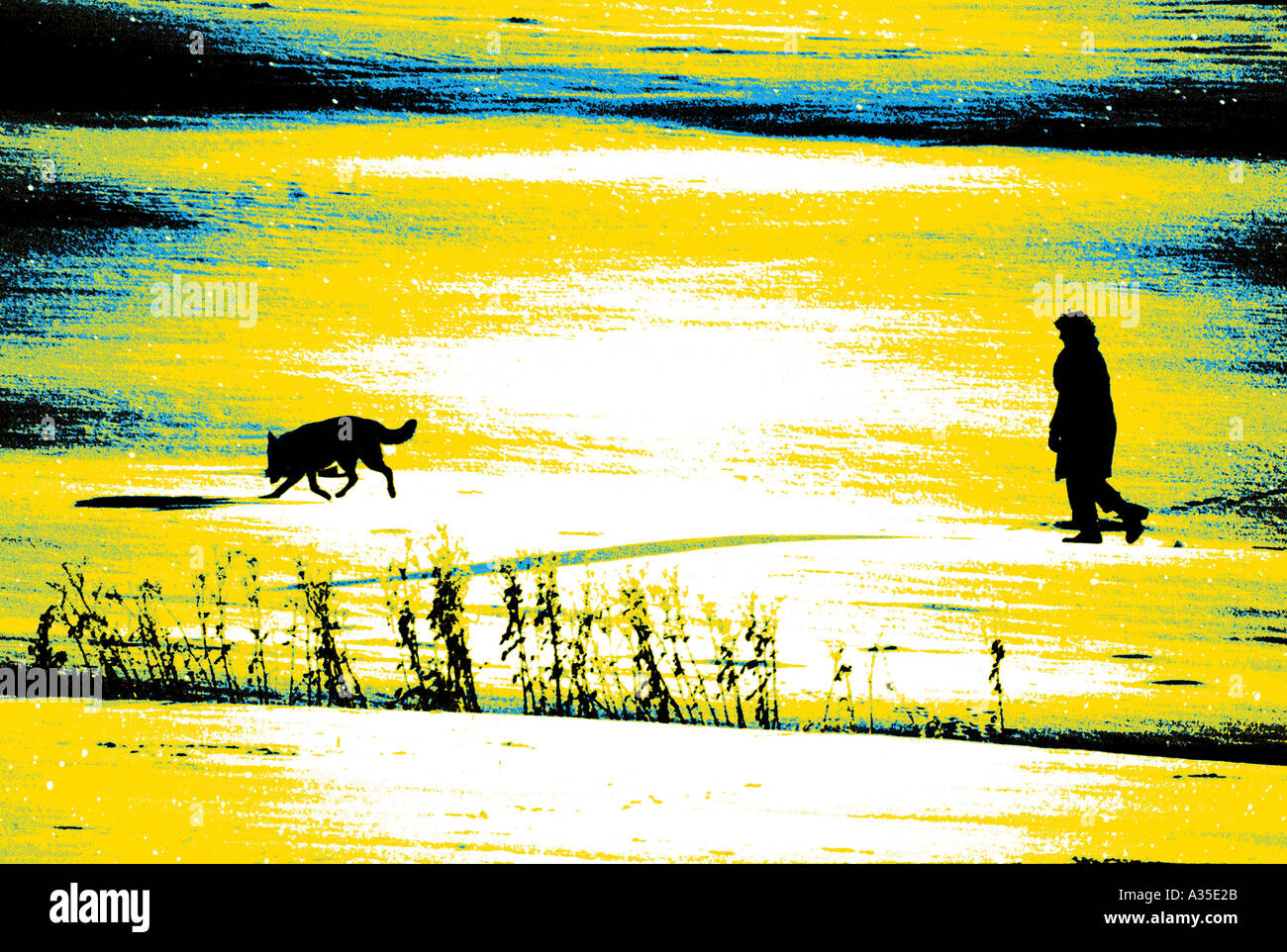 Man with his dog effect winter cold snow snowcovered walking silhouette - Stock Image