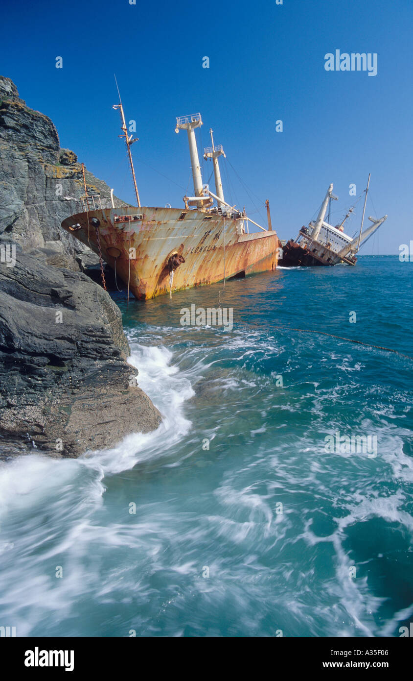 Shipwreck off the South Devon coast England UK - Stock Image