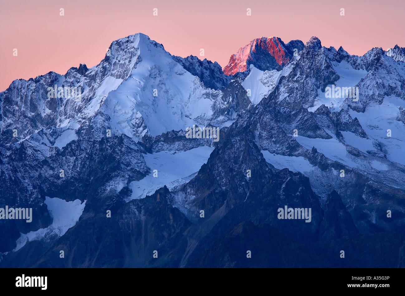Aiguille d Argentiere and la Tour Noir from the Pierre Avoi at dawn, Four Valleys region, La Valais Switzerland. - Stock Image