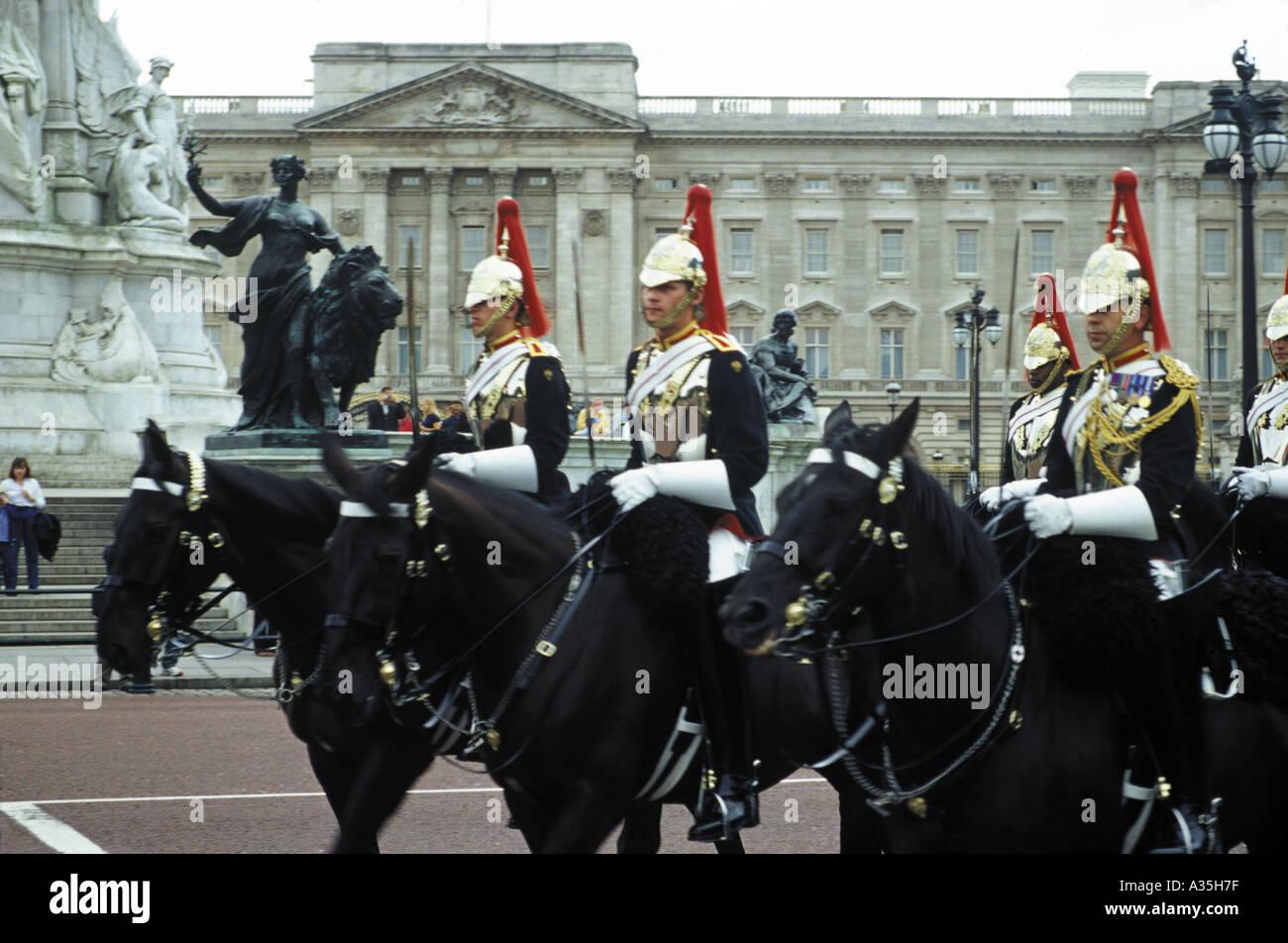 The Blues and Royals outside Buckingham Palace London UK Stock Photo