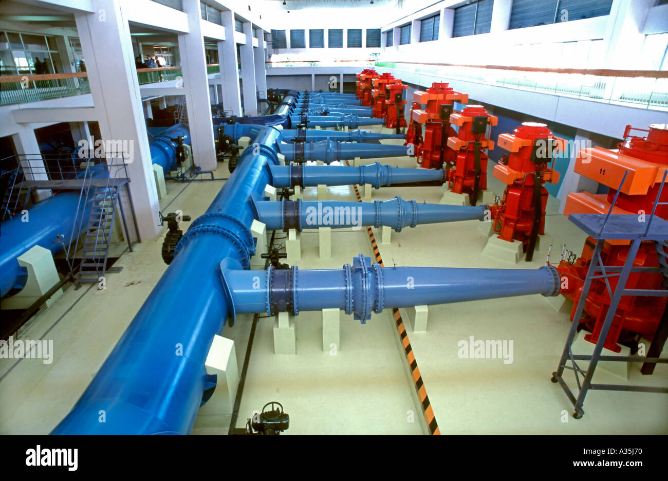 Lyon FRANCE, Clean Water Treatment Plant  Veolia Water Company,  at Villeurban Pumping Station, Inside Pipes - Stock Image