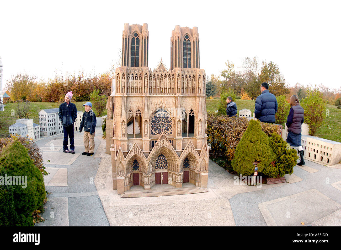 Paris, France, Children Visiting France Miniature Theme Park Architectural Models of French Monuments in Elancourt Reims Cathedral - Stock Image