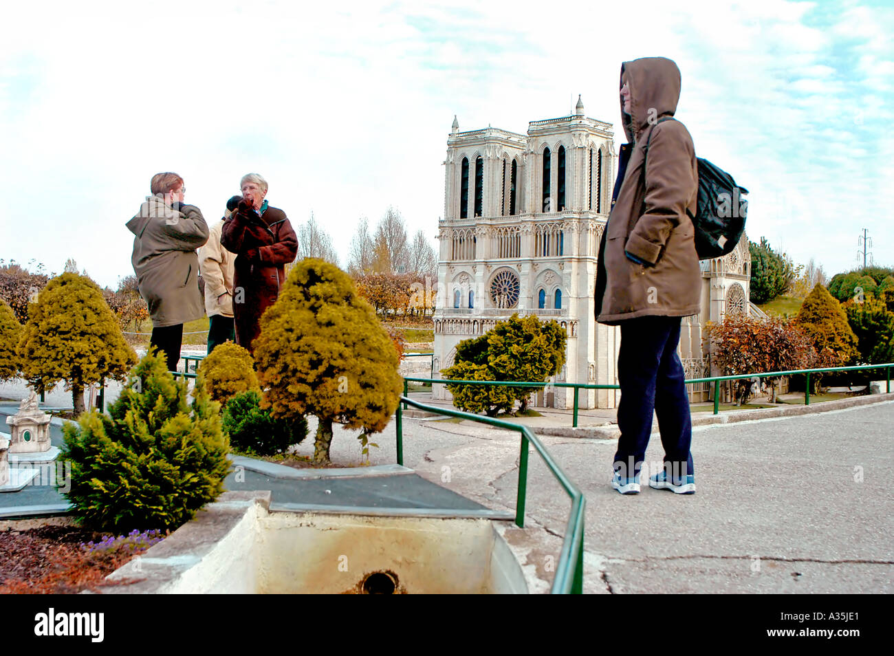 Paris France, Women Tourists Visiting 'France Miniature' Theme Park, Architectural Models of French Monuments in Elancourt - Stock Image