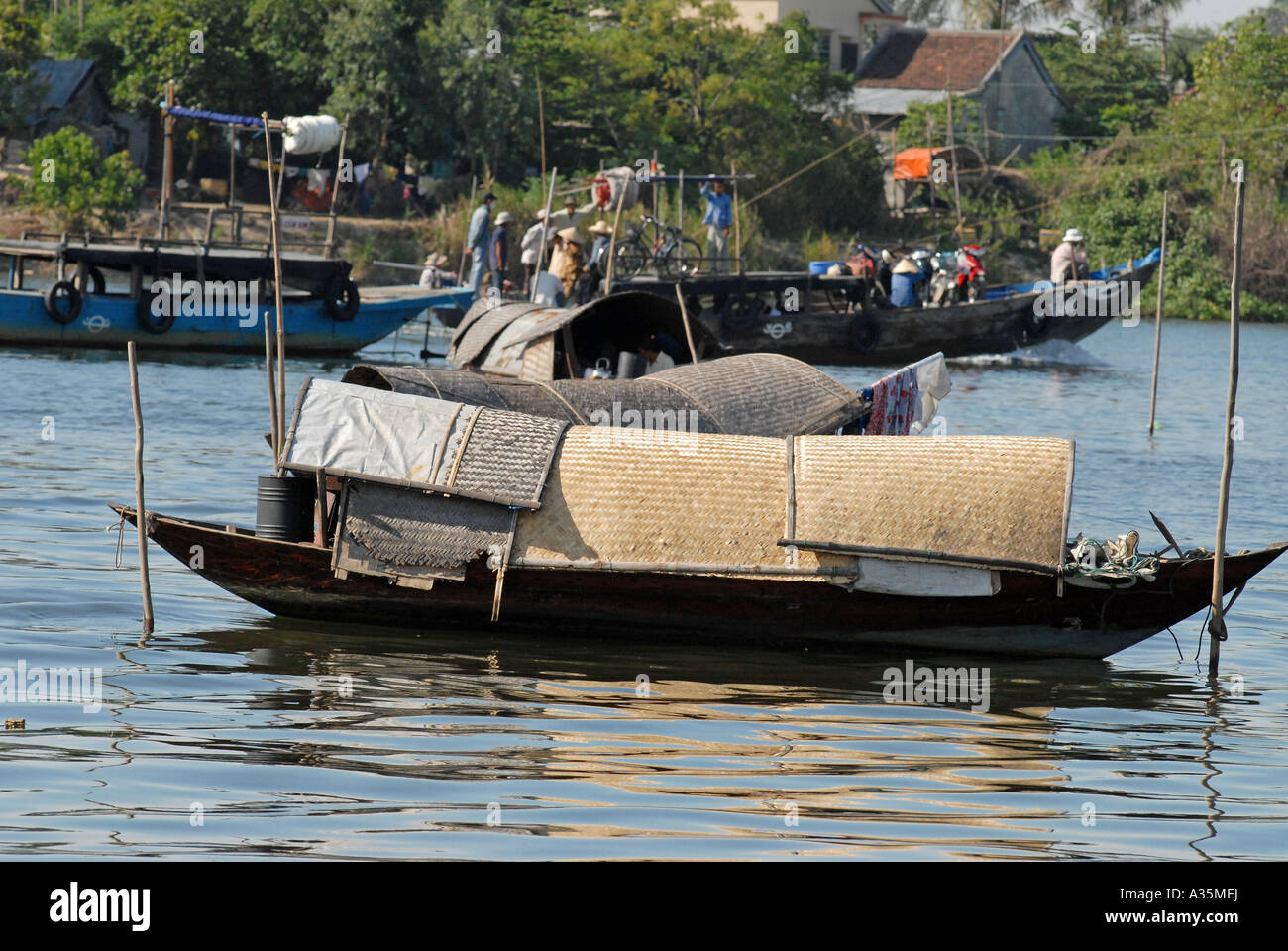 Sampan on the Perfume river Hue Vietnam - Stock Image