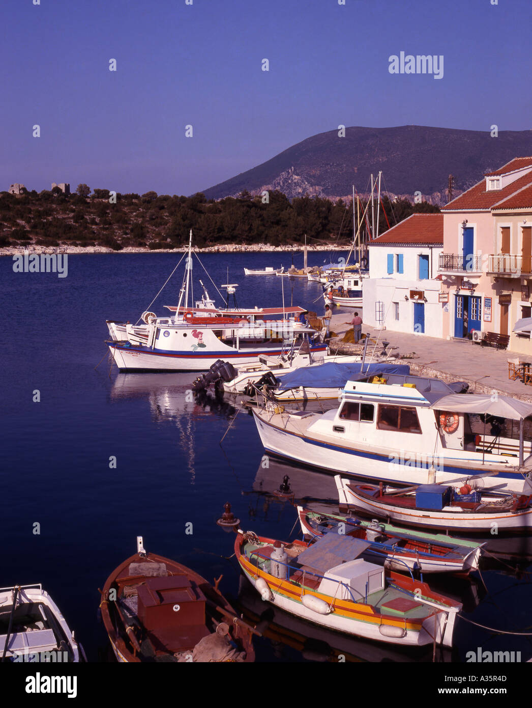 Greece Ionian Islands Kefallonia Fishing boats Fiskardo village - Stock Image