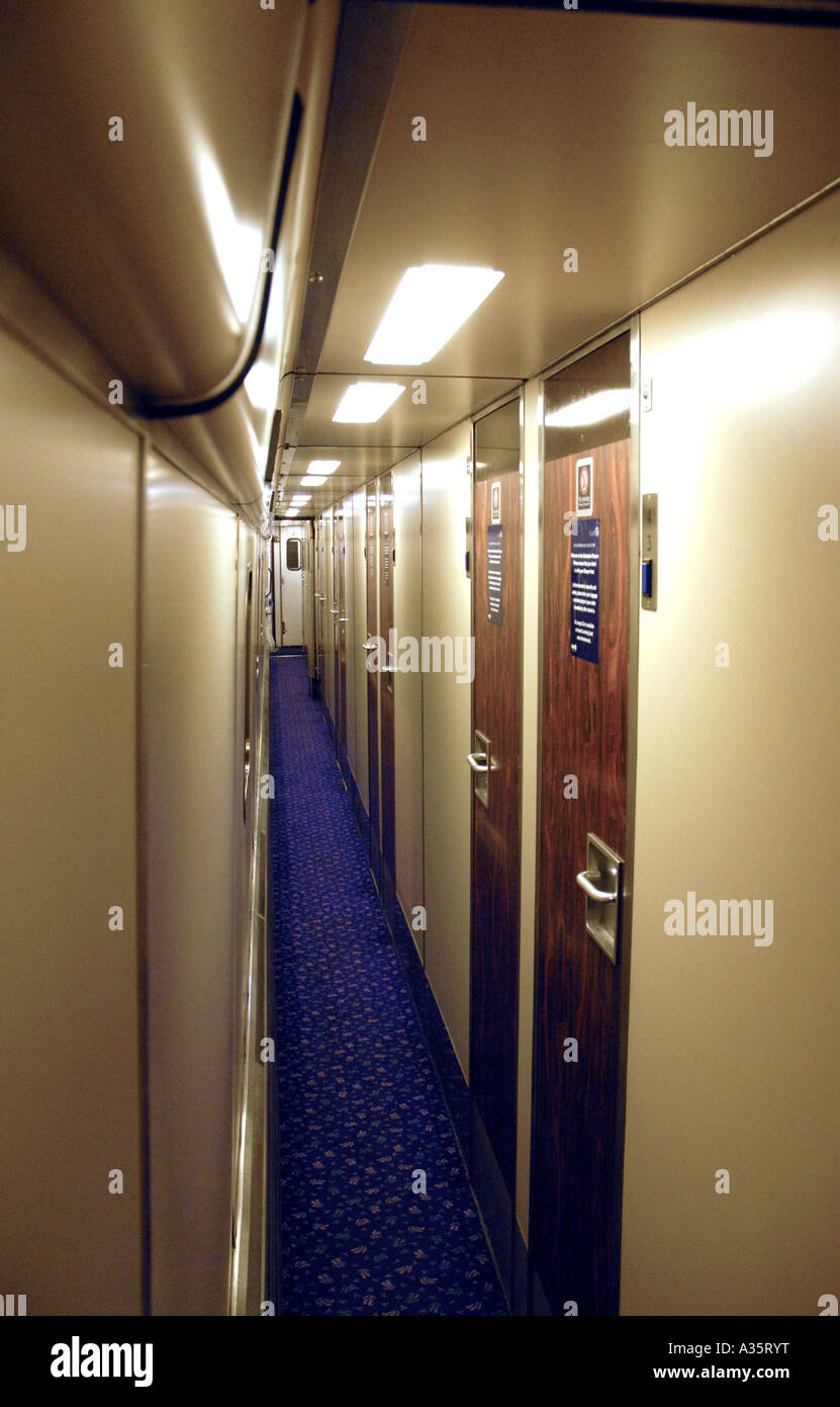 Corridor On A First Scotrail Overnight Sleeper Train From