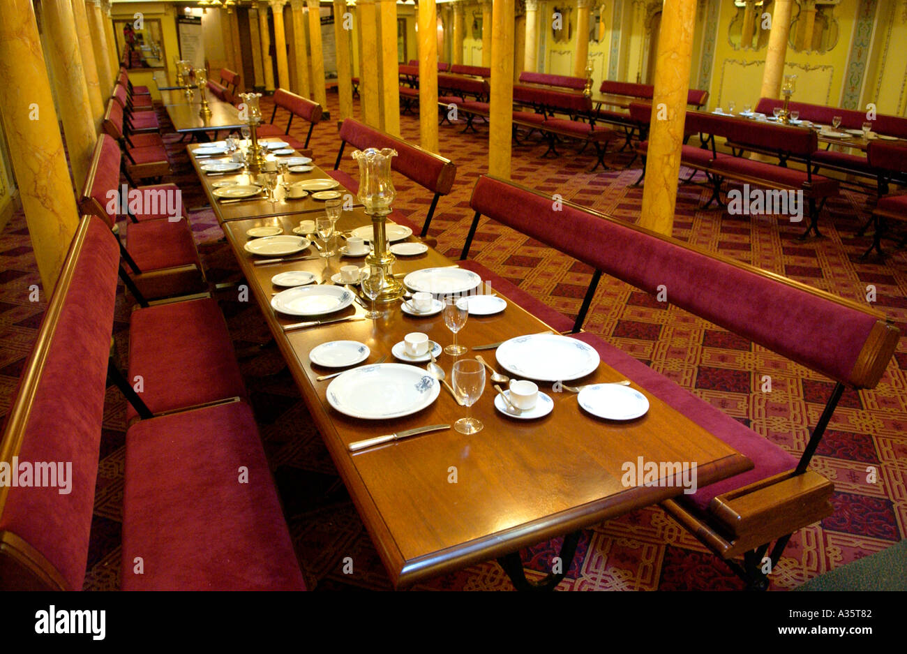Restored First Class Dining Saloon of the SS Great Britain built by Victorian engineer Isambard Kingdom Brunel - Stock Image