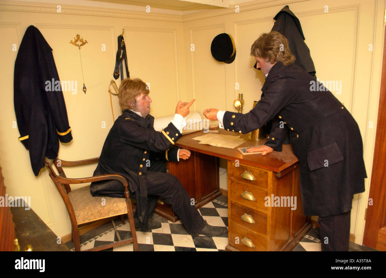 Restored captains cabin of the SS Great Britain built by Victorian engineer Isambard Kingdom Brunel pictured in Bristol Docks - Stock Image