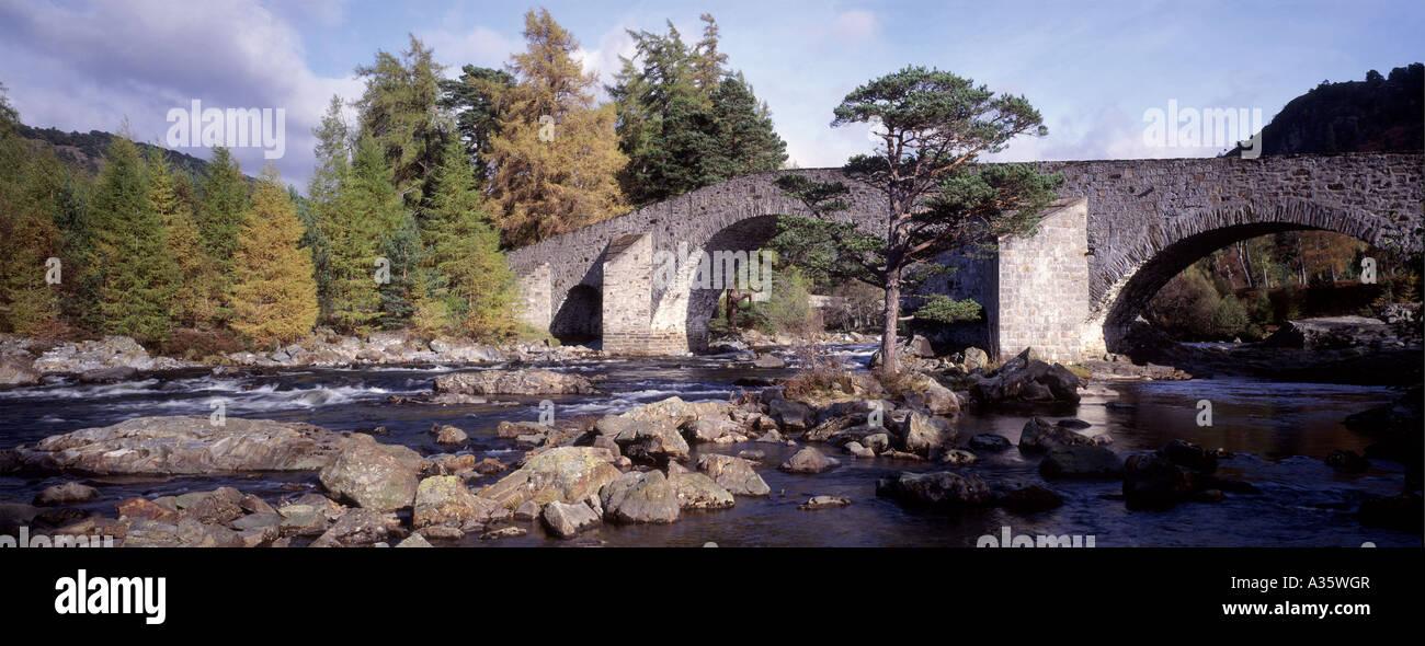 Famous landmark, Invercauld Bridge, River Dee, Braemar.Aberdeenshire. Scotland  GPAN 0031 Stock Photo