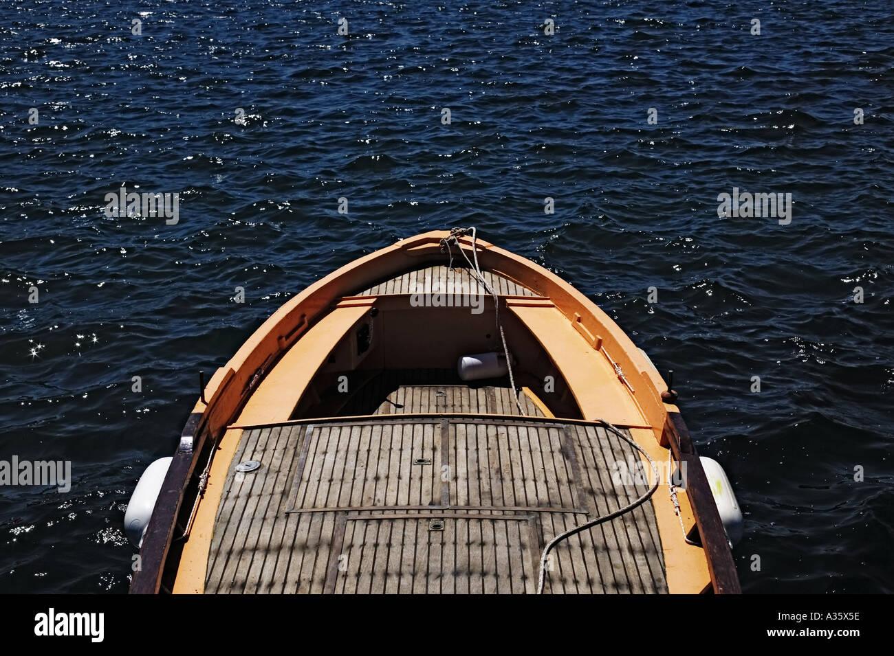 Orange Fishing Boat At Sea Near Capri Tuscany Italy - Stock Image