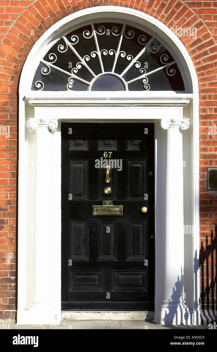 black georgian door with brass letterbox door knob and knocker and fanlight in dublin : georgian door - pezcame.com