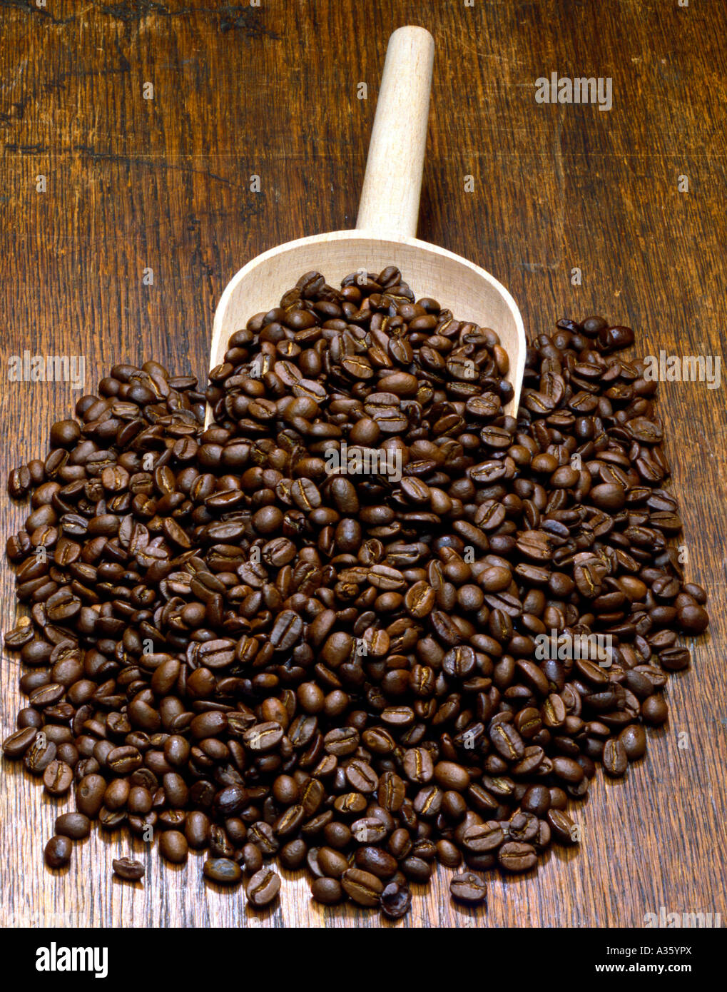 Geroestete Kaffeebohnen, roasted coffee beans - Stock Image