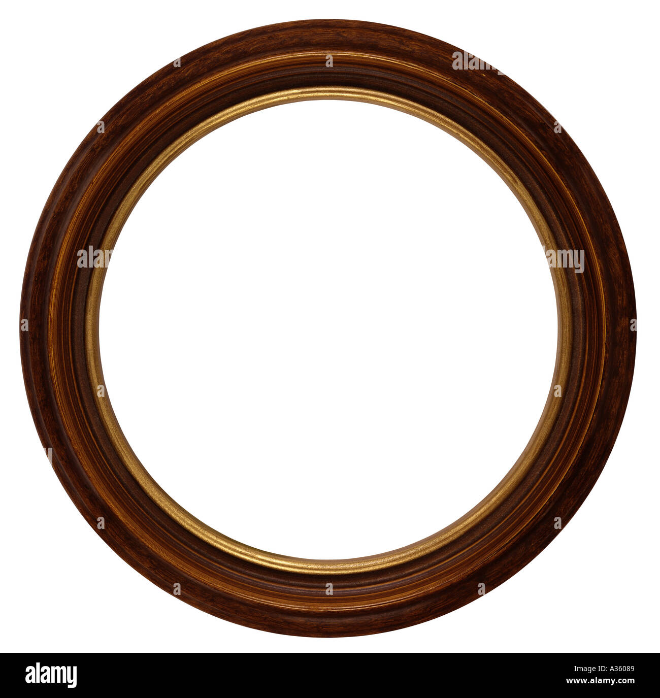 A Round Or Circular Antique Wooden Frame Stained In Dark Brown And Stock Photo Alamy