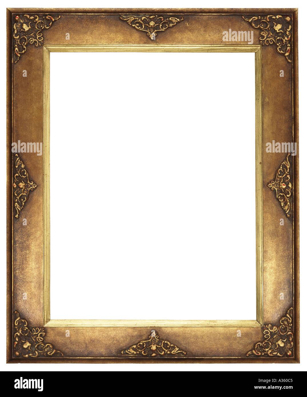 A vertical gold gilded rectangular decorative ornate antique frame ...