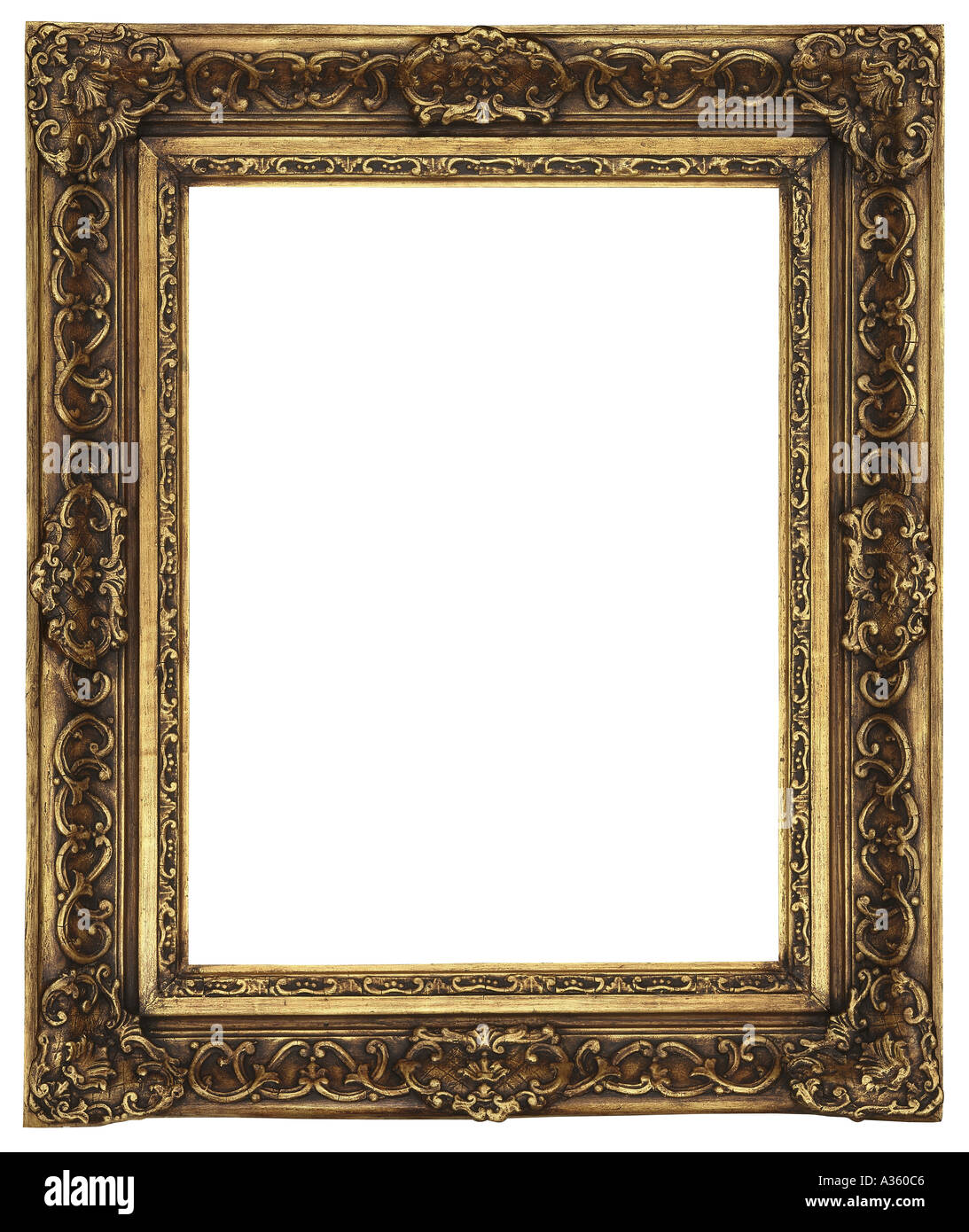 A vertical gold gilded rectangular decorative ornate antique frame ...