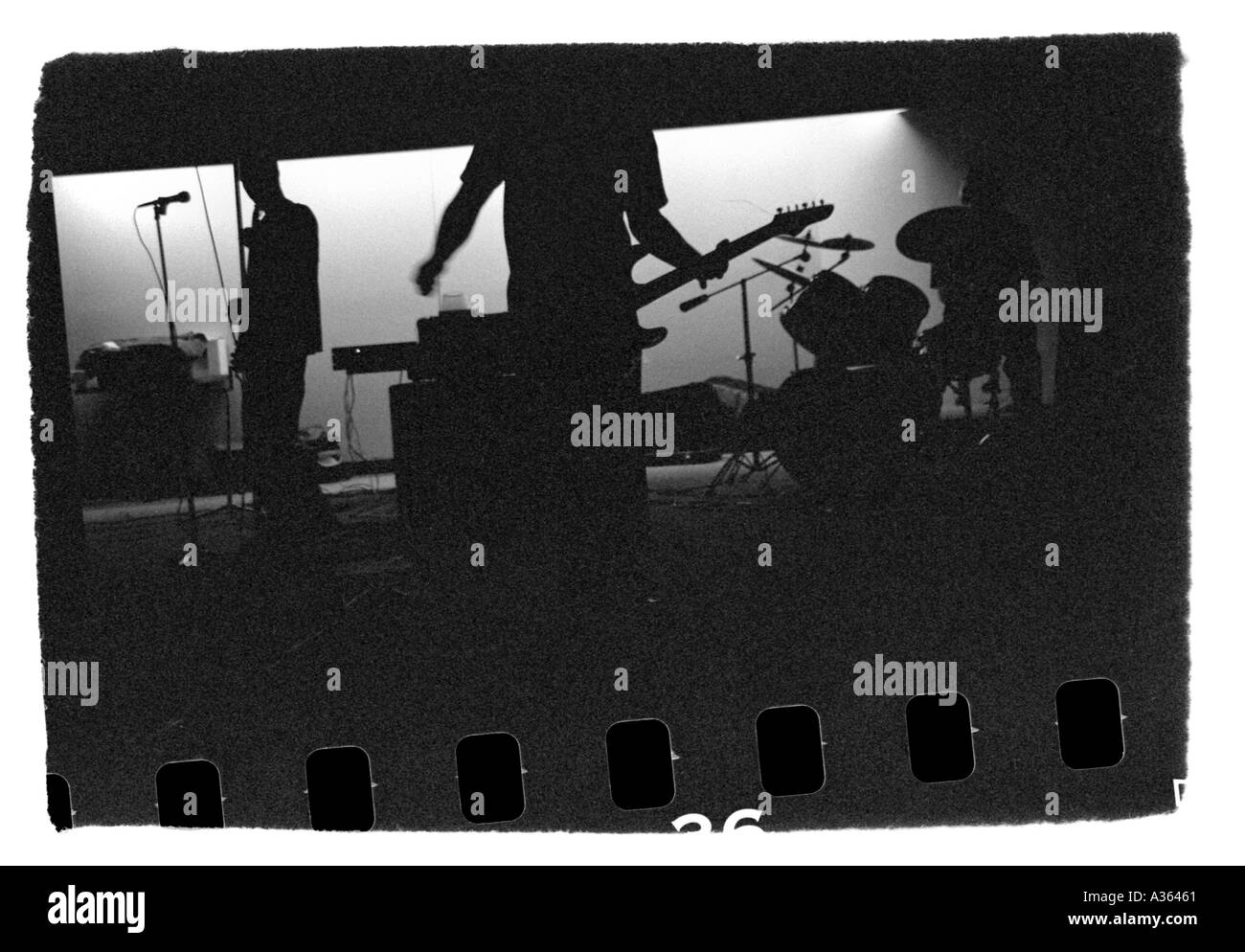 Punk rock garage band performing - Stock Image