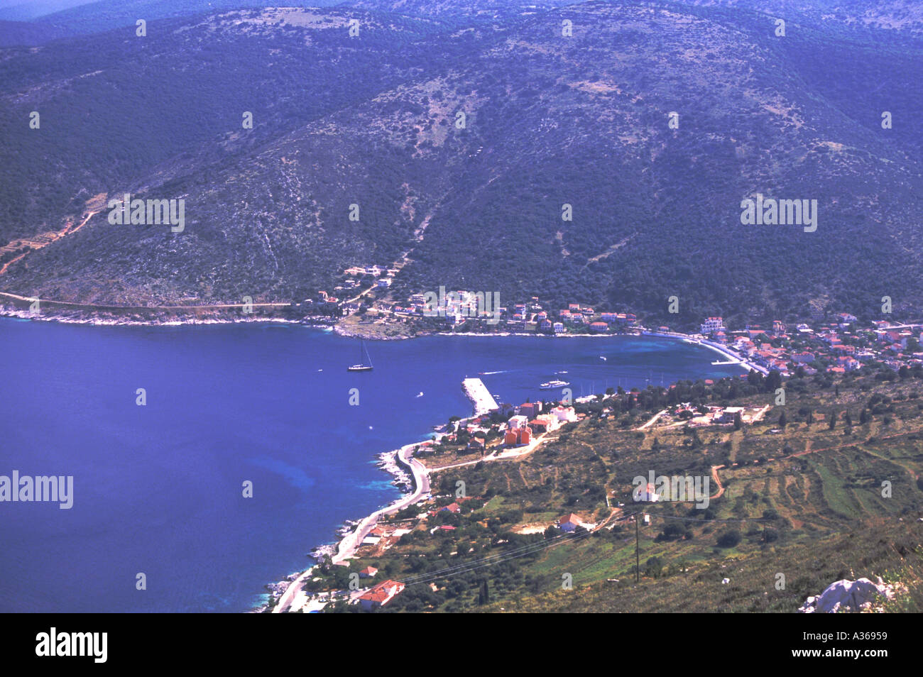 View over Harbour Kefalonia - Stock Image