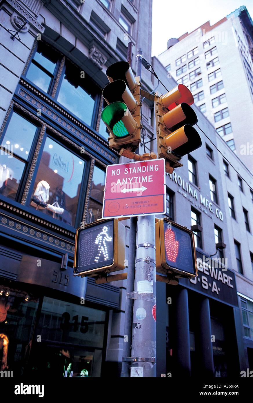 America,New York,signal lamp,light,traffic,communi Stock Photo